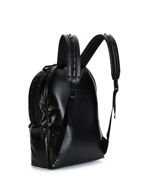 Tonal Studded Leather Backpack, Black