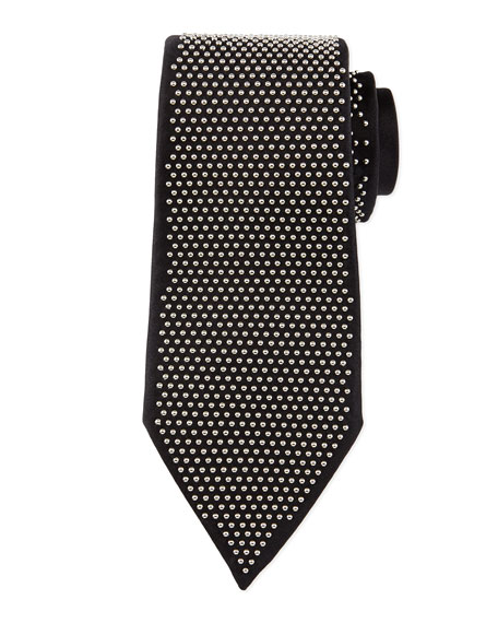 Studded Silk Tie, Black