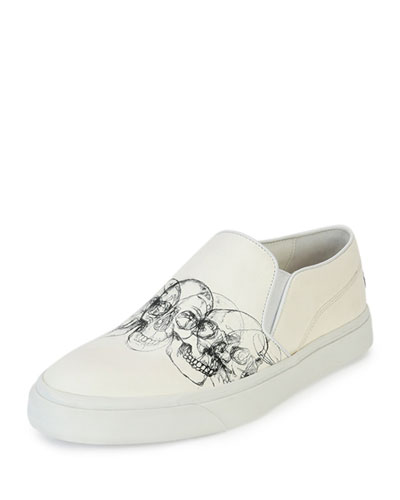 Skull-Graphic Slip-On Skate Shoe, White/Black