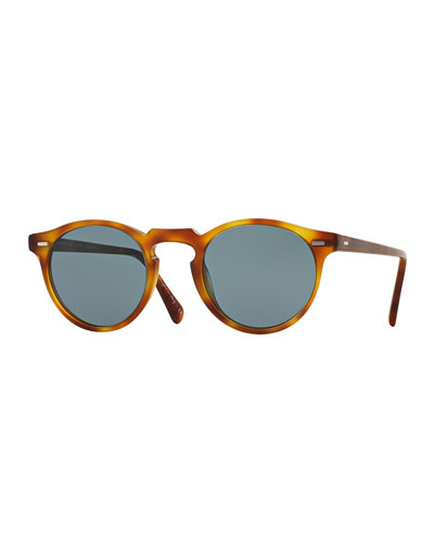 Gregory Peck Round Plastic Sunglasses, Brown/Tortoise