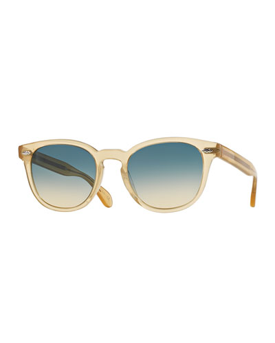 Sheldrake Plus Square Plastic Sunglasses, Light Brown