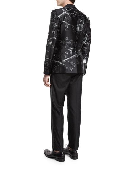 Forest-Print Silk Evening Jacket, Black/White