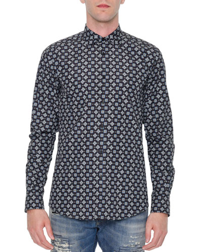 Multi Geo-Print Long-Sleeve Shirt, Navy