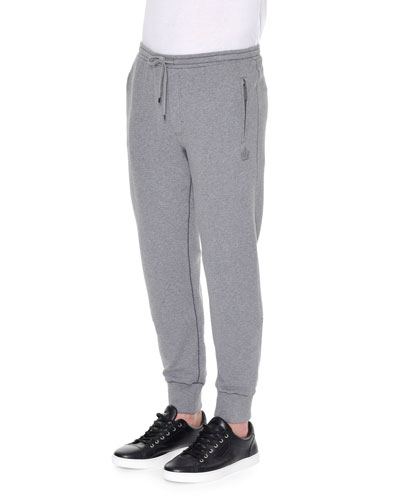 Crown-Logo Knit Sweatpants, Gray