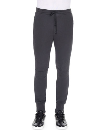 Biker Knit Sweatpants, Gray