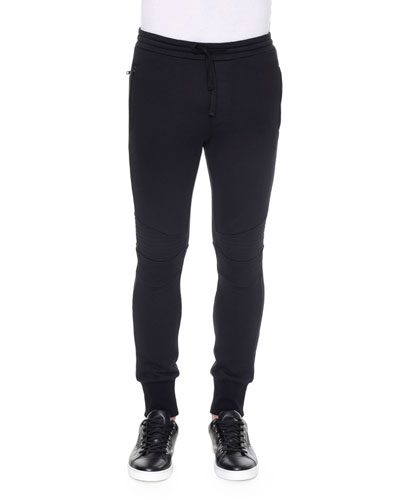 Biker Knit Sweatpants, Black
