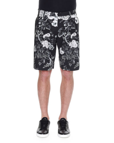 Rose-Print Bermuda Shorts, Black/White