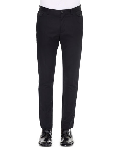 Front-Pocket Slim-Fit Dress Pants, Black