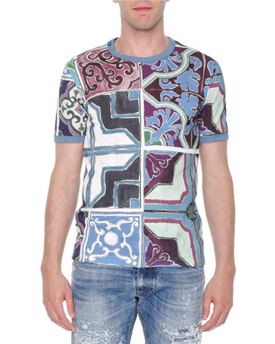 Majolica-Print Abstract Knit Tee, Multi