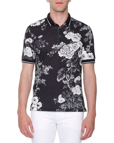 Rose-Print Pique Polo Shirt, Black/White