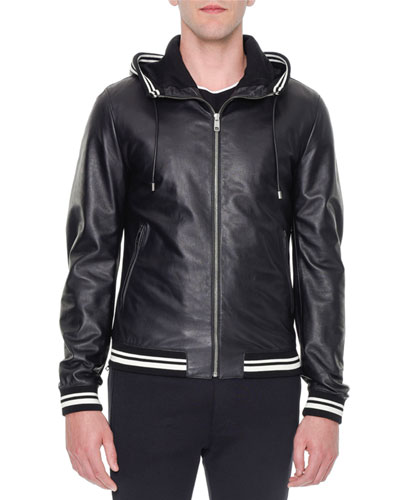 Leather Hooded Varsity Jacket, Black