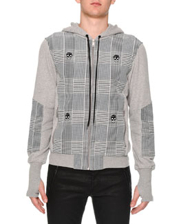 Plaid & Skull-Print Zip-Up Hoodie, Light Gray