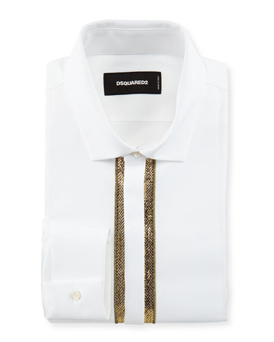 Long-Sleeve Evening Shirt with Gold Bib, White