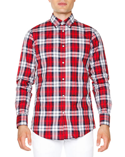 Multi-Plaid Long-Sleeve Shirt, Red