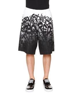 Graffiti-Print Wide Leg Shorts, White/Black