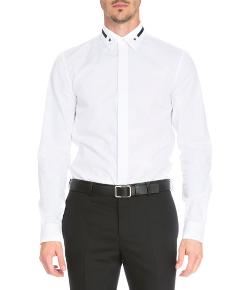Star & Stripe-Collar Button-Down Shirt, White