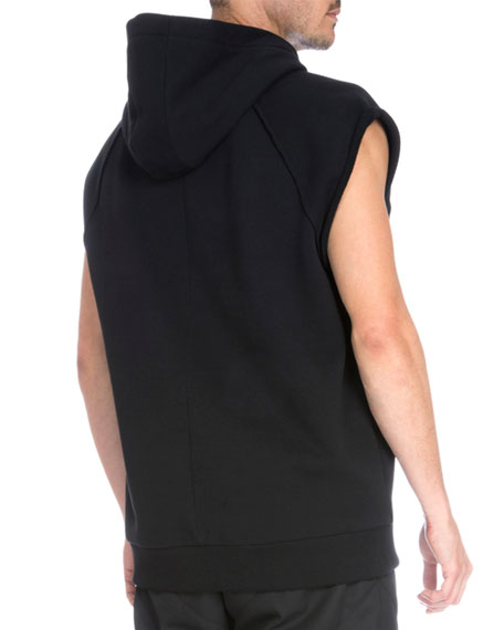 Sleeveless Hooded Pullover Sweater, Black