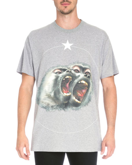 Columbian Monkey-Print Jersey T-Shirt, Gray