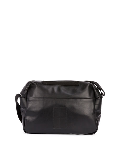 Rider Leather Messenger Bag, Black