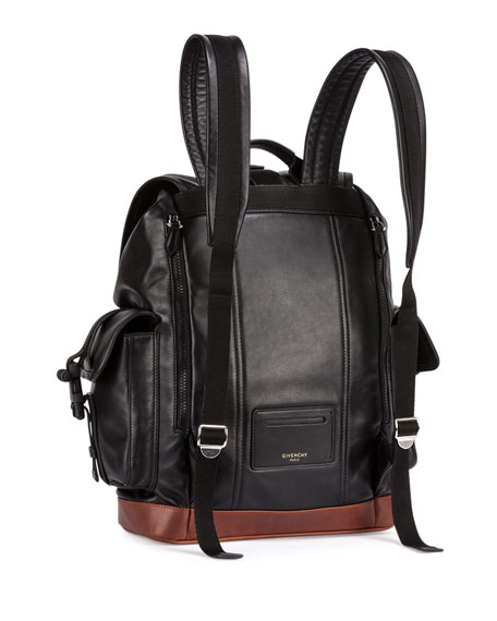 Obsedia Men's Leather Flap Backpack, Black/Brown