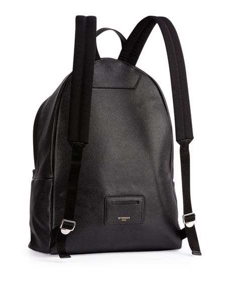 Men's Printed Logo Leather Backpack, Black