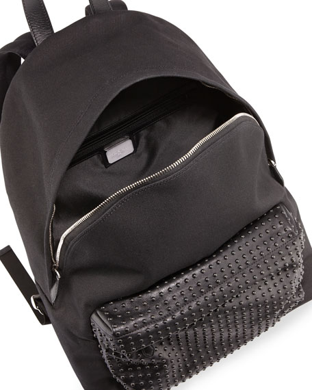 Studded-Front Canvas Backpack, Black