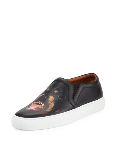 Men's Rottweiler-Print Leather Skate Shoe, Black