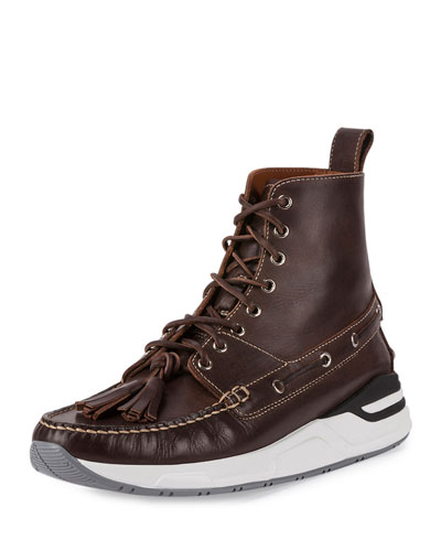 Lace-Up Leather Ankle Boot, Dark Brown