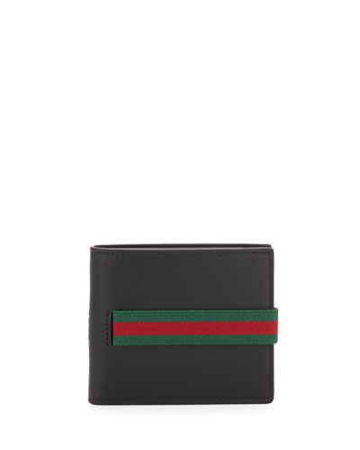 Elastic Leather Wallet, Black