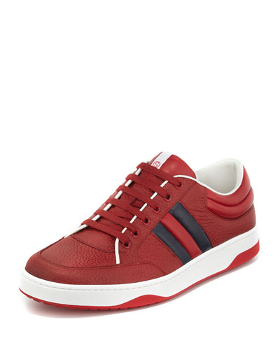 Ronnie Leather Low-Top Sneaker, Red