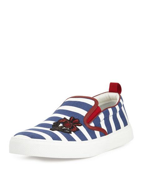 Dublin Striped Slip-On Sneaker, Navy/White