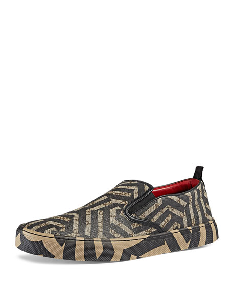 Gucci Dublin GG Caleido Canvas Slip-On Sneaker, Brown