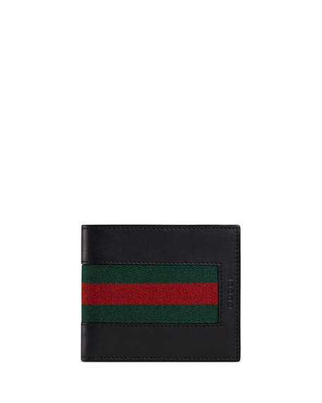 Web Leather Bi-Fold Wallet, Black
