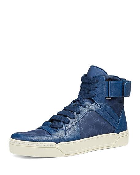 dd94b83f56cb Gucci Nylon Guccissima High-Top Sneaker