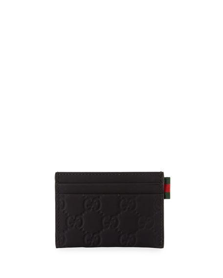 1d088fd978 Rubber Guccissima Leather Card Case Black
