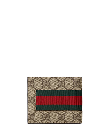 2791faab8054 Gucci Web GG Supreme Bi-Fold Wallet with Bee, Beige