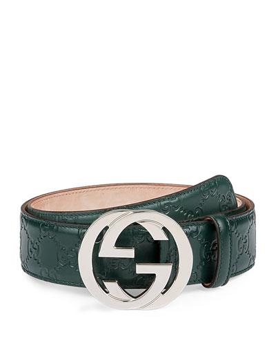 Interlocking G-Buckle Leather Belt