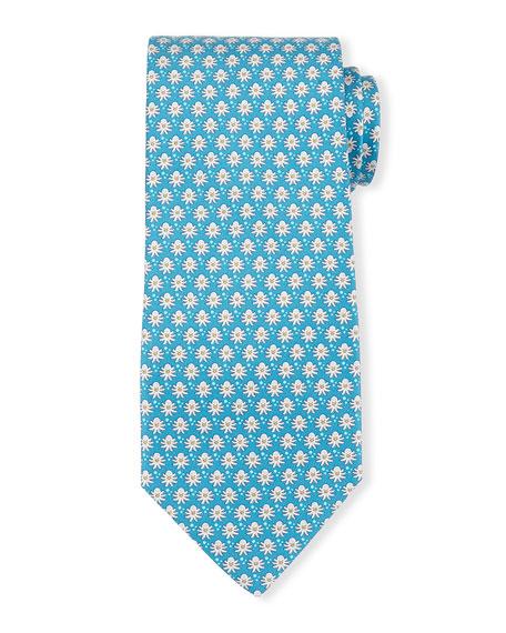 Octopus-Print Silk Tie, Turquoise