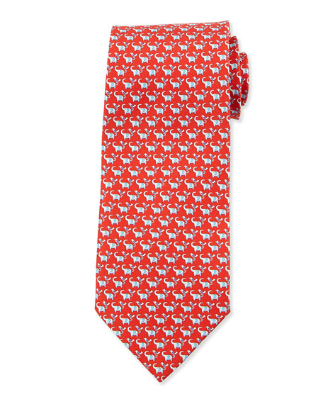 Elephant-Print Silk Tie, Red