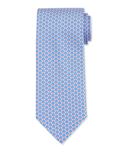 Butterfly-Print Silk Tie, Blue/Red