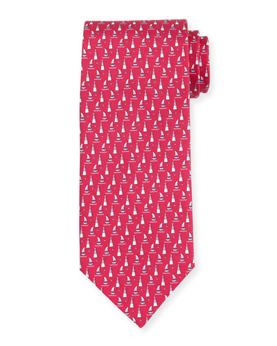 Sailboat-Print Silk Tie, Magenta