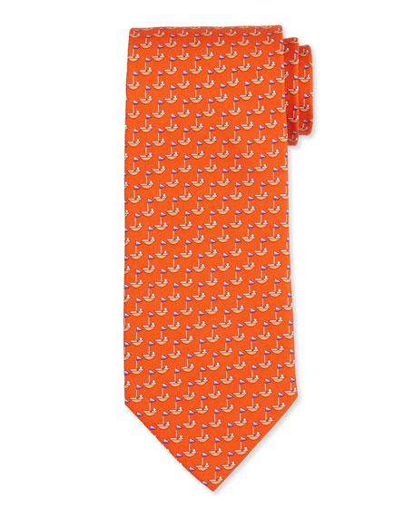 Sailboat-Printed Silk Tie, Orange