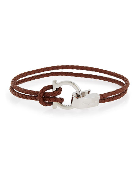 Braided Gancini Bit Bracelet, Brown