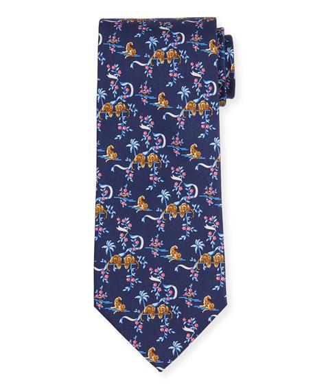 Jungle-Print Silk Tie, Blue