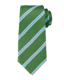 Striped Textured Silk/Linen Tie, Green
