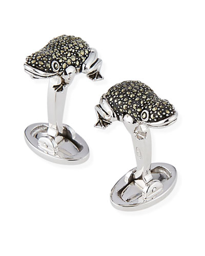 Marcasite Frog Cuff Links