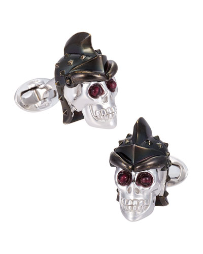 Skull Head with Helmet Cuff Links