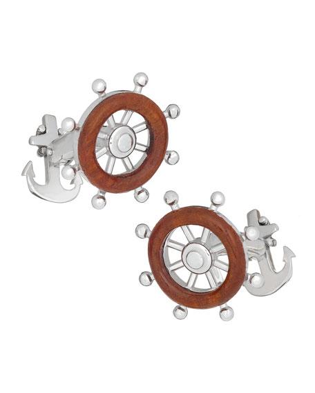 Wood Boat's Wheel Cuff Links, Gray/Brown
