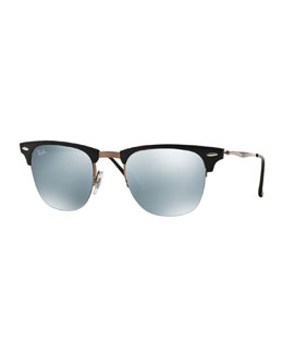 Clubmaster Half-Rimmed Sunglasses, Brown