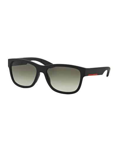 Square Nylon Sunglasses, Black